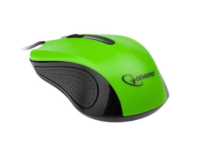 Gembird optická myš 1200 DPI, USB, černo-zelená