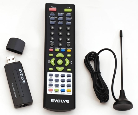 EVOLVEO dual HD DVB-T USB tuner Venus s dálk. ovl. a anténou (HDTV/H.264/PiP/POP/PBP/TimeShift/EPG/TXT/USB2.0)