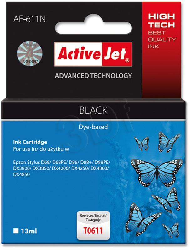 Inkoust ActiveJet AE-611N | Black | 13 ml | Chip | Epson T0611