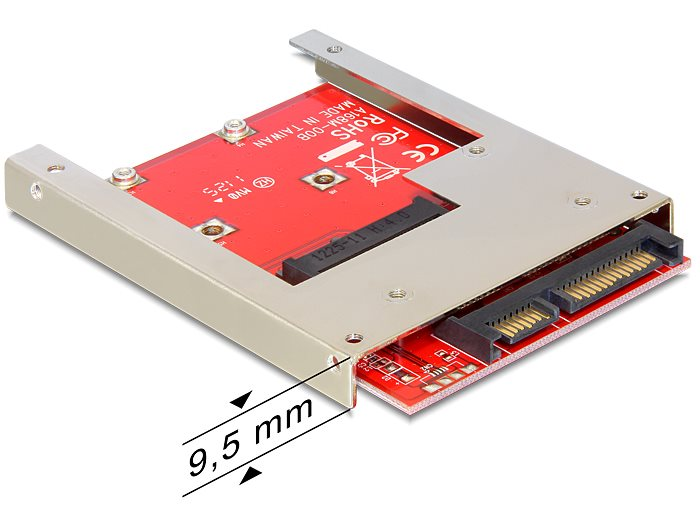 Delock adaptér SATA 22 pin na mSATA full size