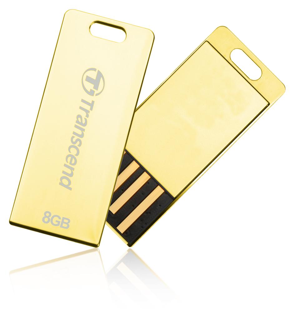 TRANSCEND USB Flash Disk JetFlash®T3G, 8GB, USB 2.0, Golden (odolný vůči prachu, vodě i nárazu) (R/W 19/4 MB/s)