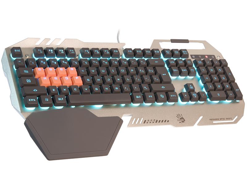 A4tech Bloody B418 silver podsvícená herní klávesnice, 8 mechanických infračervených kláves, USB, CZ