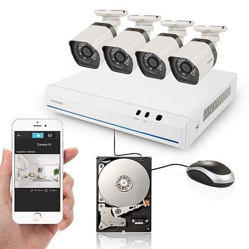 ZMODO 8-kanálový rekordér NVR + 4x IR IP kamera s PoE + 1TB HDD