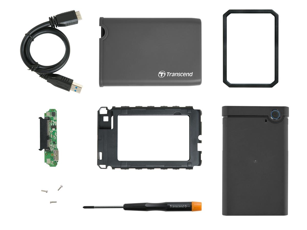 """Transcend StoreJet 25CK3 externí rámeček pro 2.5"""" HDD/SSD, SATA III, USB 3.0, gumové pouzdro, šedý"""