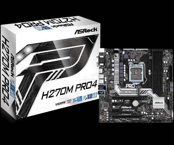 ASRock H270M Pro4, INTEL H270 Series,LGA1151,4 DDR4, 2 x M.2 (for SSD)