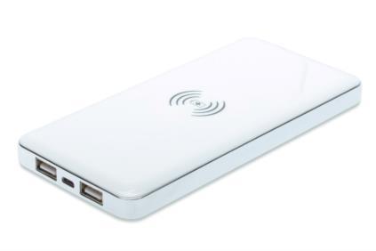 ednet Power Bank, 8000 MHA s bezdrátovým nabíjením, Li-polymerová baterie, bílá