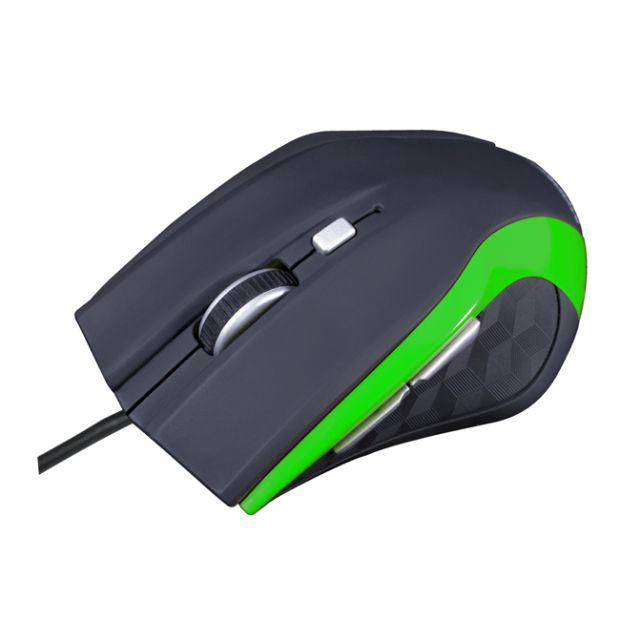 Modecom MC-M5 drátová optická myš, 5 tlačítek, 2400 DPI, USB, černo-zelená