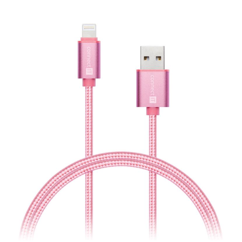 CONNECT IT Wirez Premium Metallic Lightning - USB, rose gold, 1m