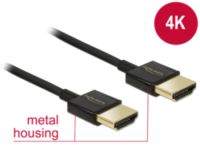 Delock Cable High Speed HDMI with Ethernet A male > A male 3D 4K 3m Slim