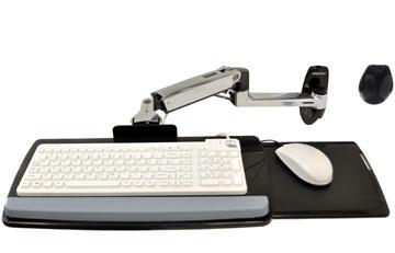 """ERGOTRON KEYBOARD ARM,WITH 9"""" EXTENSION,WALL MOUNT,Polished Aluminum - nástěnný držák pro klávesnici a myš, silver"""