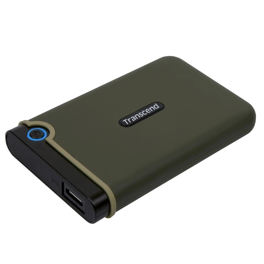 """TRANSCEND 2TB StoreJet 25M3E, USB 3.0, 2.5"""" Externí Anti-Shock disk, armádní zelená"""