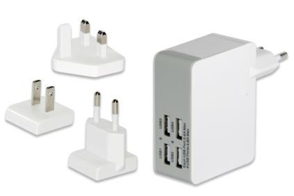 Ednet USB cestovní nabíječka, 4-Port, max. 5V / 4.8A, 3 zásuvky EU / US / UK, bílá