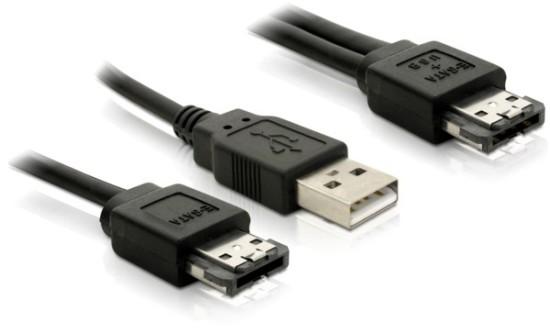 DeLock kabel Power eSATA (eSATAp) samec na eSATA+USB-A samec 1m