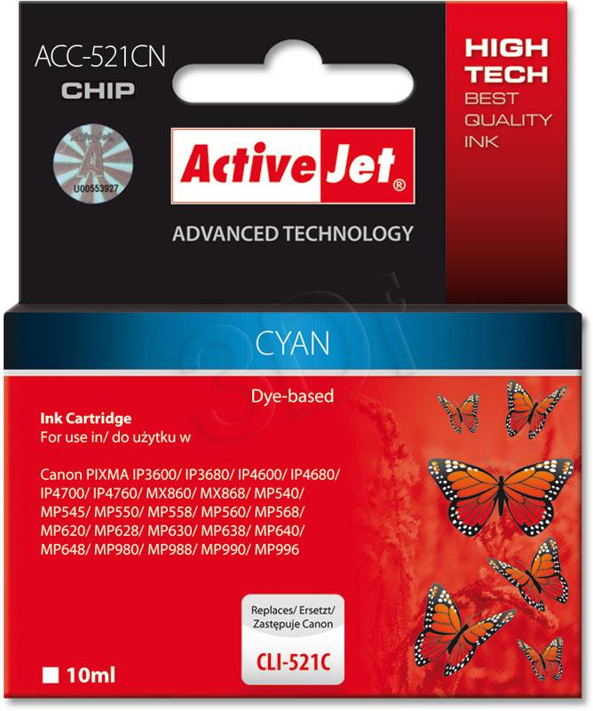 ActiveJet Ink cartridge Canon CLI-521C (WITH CHIP) ACC-521C