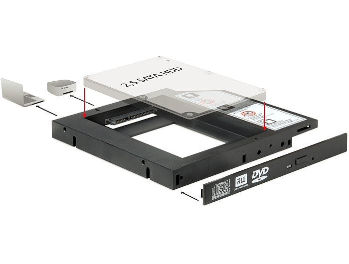 Delock montážní rámeček Slim SATA 5.25 pro 1 x 2.5 SATA HDD