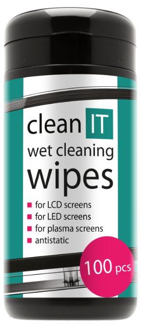 CLEAN IT Čistící ubrousky na obrazovky 100ks, navlhčené, antistatické, LCD/LED/Plazma