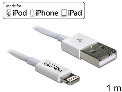 Delock USB datový a napájecí kabel pro iPhone™, iPad™, iPod™ bílý