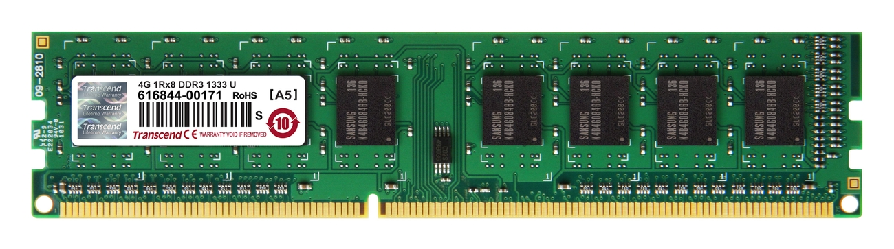 Transcend 4GB 1333MHz DDR3 DIMM 1.5V (1Rx8)