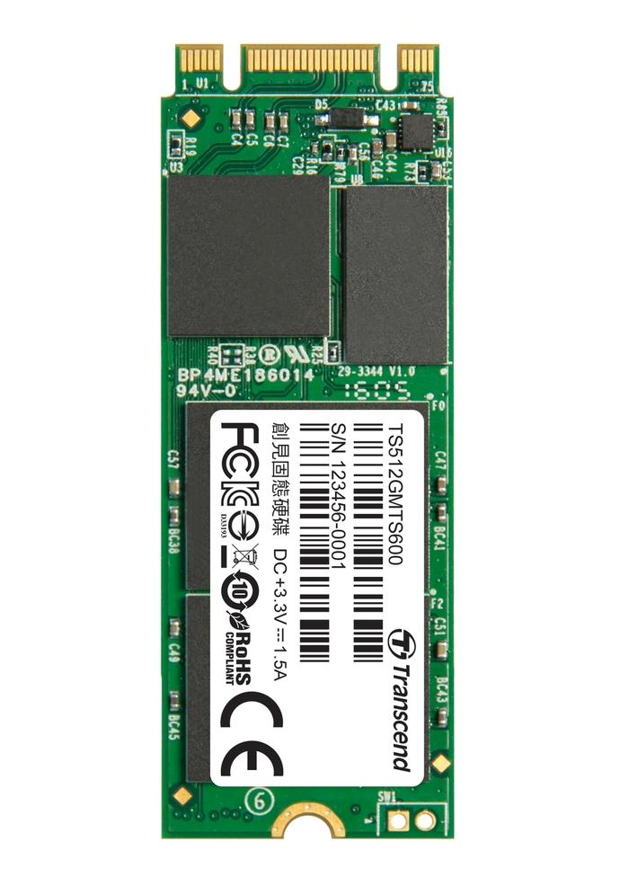 Transcend SSD M.2 2260 SATA 6GB/s, 512GB, MLC (čtení/zápis; 550/460MB/s)