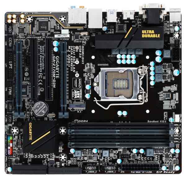 GIGABYTE MB Sc LGA1151 Z170M-D3H, Intel Z170, 4xDDR4, VGA, ATX