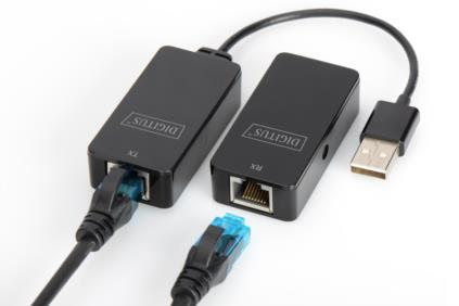 DIGITUS USB Extender, USB 2.0, for use with Cat5/5e/6 (UTP, STP or SFT) cable up to 50 m / 164 feetUSB Extender, USB 2.0