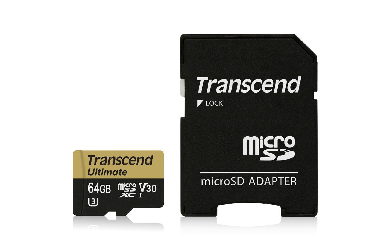 Transcend 64GB microSDXC UHS-I U3M Ultimate (V30) MLC paměťová karta (s adaptérem), 95MB/s R, 60MB/s W