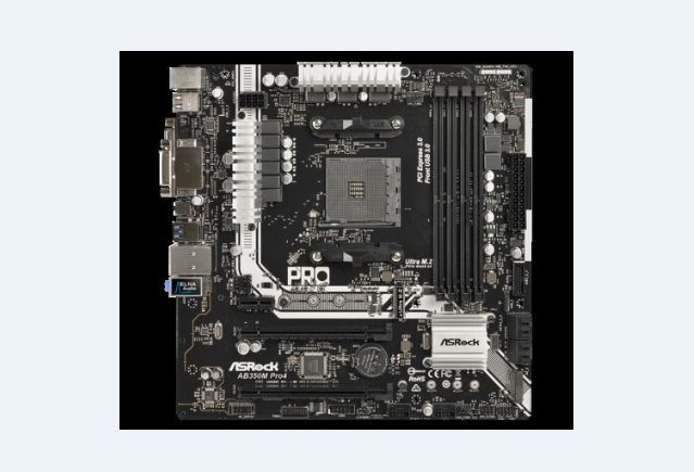 ASROCK MB AB350M PRO4 (AM4, amd B350, 4xDDR4, PCIE, 4xSATA3 + 2xM.2, VGA +DVI+HDMI, USB3.0, 7.1, GLAN, mATX)
