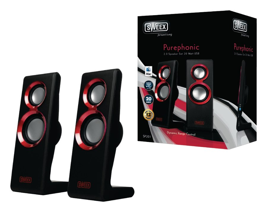 Sweex reproduktory 2.0 20W Purephonic Red USB