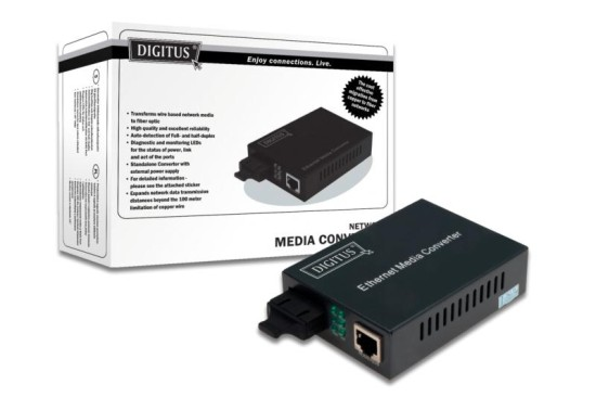 DIGITUS Professional Bidirectional Fast Ethernet Media Converter, RJ45 / SC