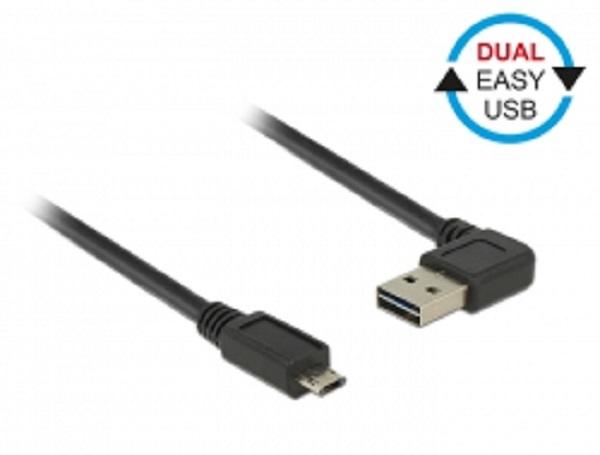 Delock Cable USB Micro AM-BM 2.0 0.5m Black Angled Left/Right Dual Easy-USB