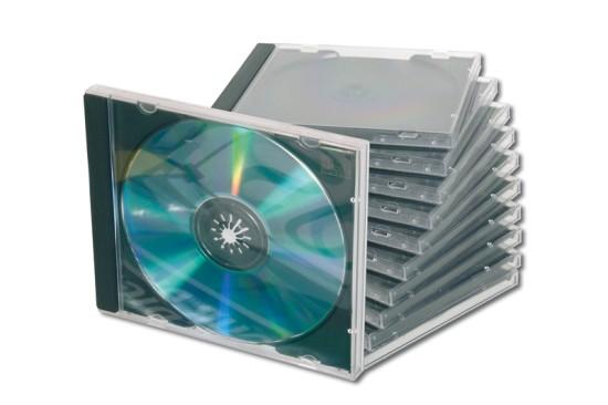 Ednet obal na CD, jewelcase, černý + průhledný 10 ks
