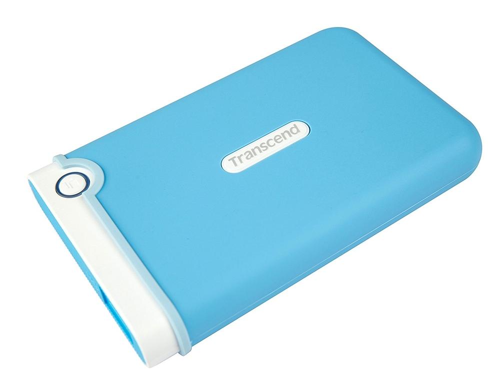 """TRANSCEND 1TB StoreJet 25M3B, USB 3.0, 2.5"""" Externí Anti-Shock disk, světle modrý"""