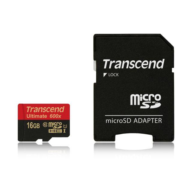 Transcend 16GB microSDHC (Class10) UHS-I 600x (Ultimate) MLC paměťová karta (s adaptérem)
