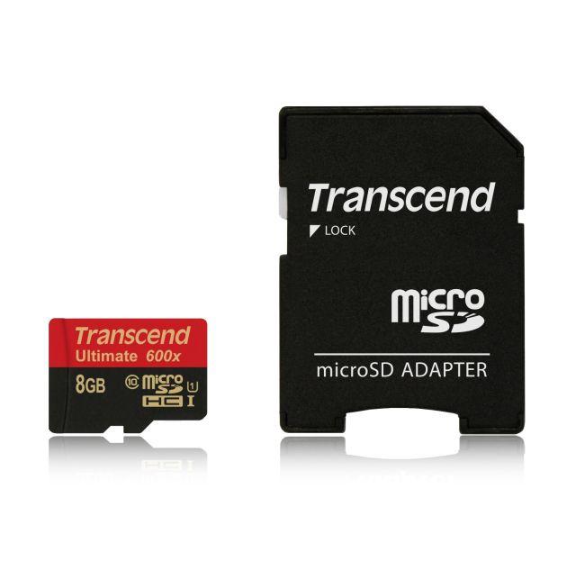 Transcend 8GB microSDHC (Class10) UHS-I 600x (Ultimate) MLC paměťová karta (s adaptérem)