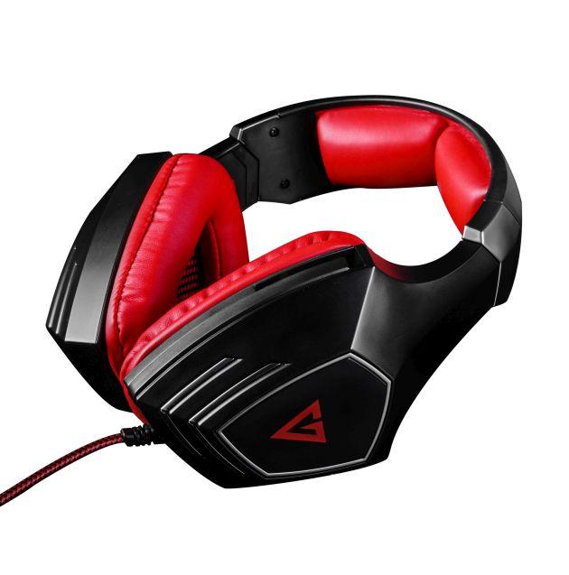 Modecom VOLCANO RAGE headset, herní sluchátka s mikrofonem, 2x 3,5mm konektor, 2,2m kabel, černá/červená