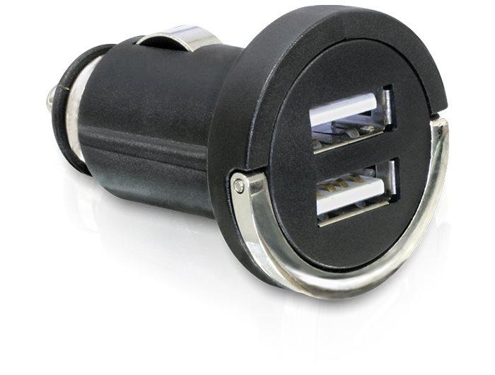 Delock nabíječka do auta 12V/24V -> 2 x USB, černá