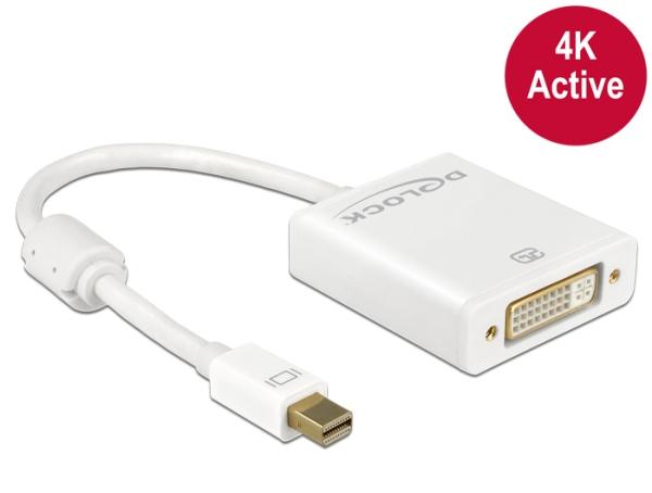 Delock Adapter mini Displayport 1.2 male > DVI female 4K Active white