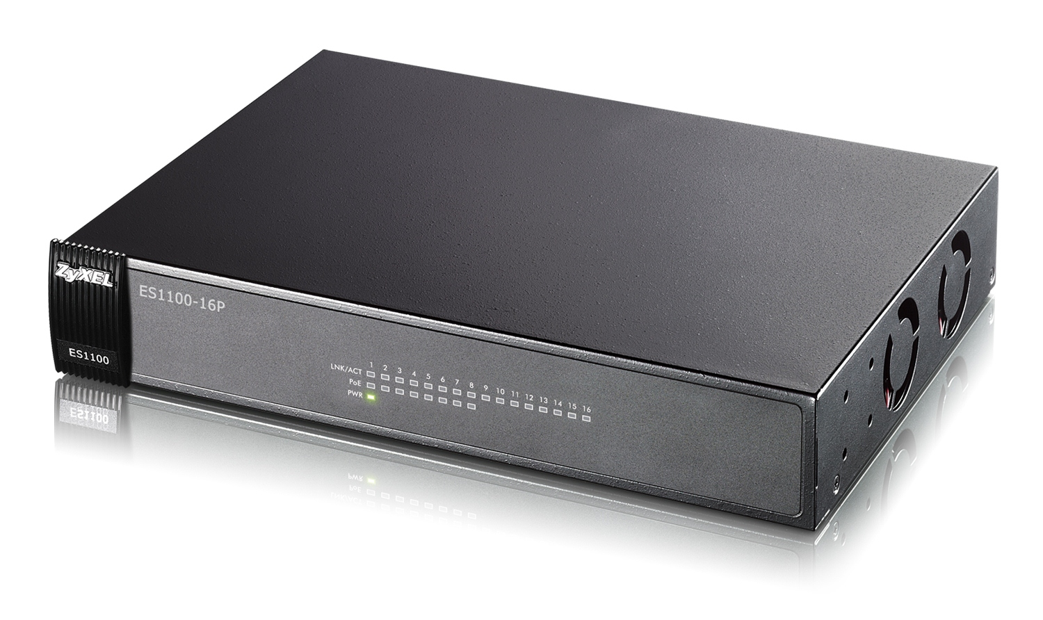 "Zyxel ES1100-16P, 16-port 10/100Mbps Ethernet switch, 8x PoE (802.3af), Green (802.3az), 19"" rackmount"