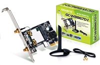 GIGABYTE GC-WB867D-I, WiFi 802.11ac, Bluetooth 4.0, PCIe, Dual Band, 867 Mbps, Intel WiDi