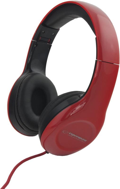Esperanza EH138R SOUL Stereo sluchátka, skládací, ovl. hlasitosti, 3m, červená