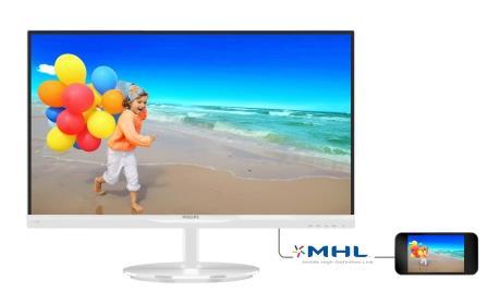 """Philips LCD 234E5QHAW 23""""wide/1920x1080/5ms/20mil:1/2xHDMI/MHL/LED/IPS/repro, bílý"""