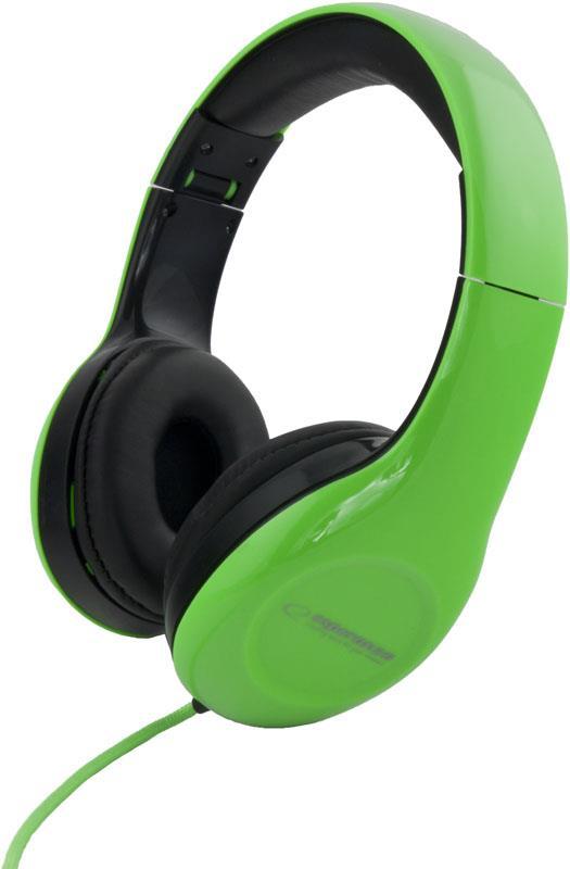 Esperanza EH138G SOUL Stereo sluchátka, skládací, ovl. hlasitosti, 3m, zelená