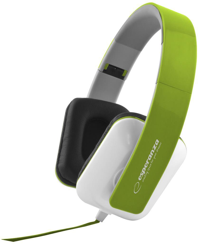 Esperanza EH137G JAZZ Stereo sluchátka, skládací, ovl. hlasitosti, 3m, zelená