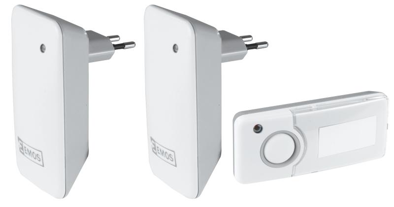 Emos domovní bezdrátový zvonek P5713G, sada 1 tlačítko + 2 zvonky, šedá