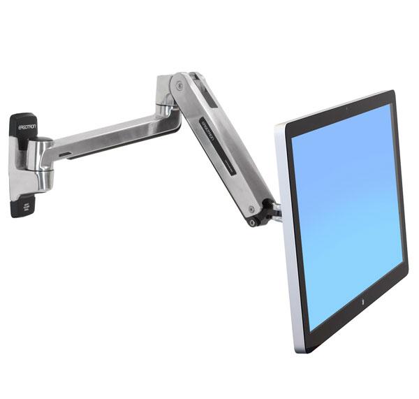 "ERGOTRON LX HD Sit-Stand Wall Mount LCD Arm, Polished, velmi flexibilní rameno na zeď až 46"""