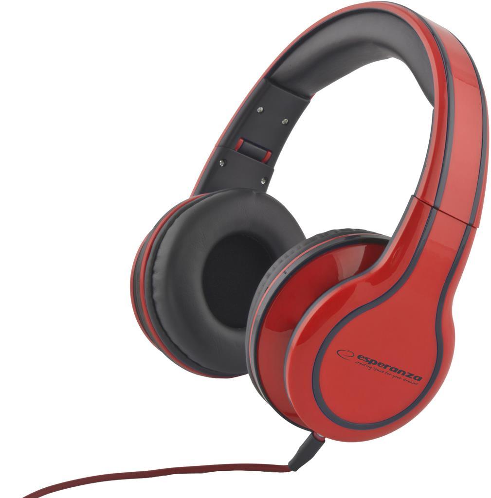 Esperanza EH136R BLUES Stereo sluchátka, skládací, ovl. hlasitosti, 3m, červená