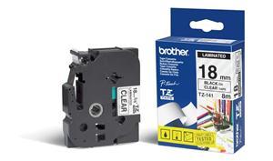 Brother - TZ-141, průsvitná / černá (18mm, laminovaná)
