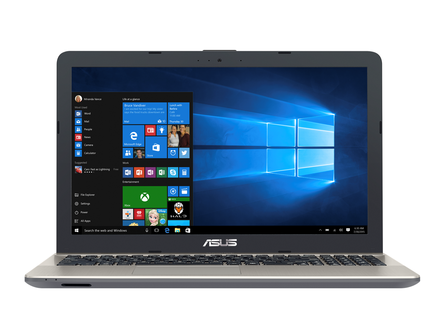 "ASUS X541NA-GO120T Celeron N3350/4GB/500GB/Graphics Share/15,6"" HD lesklý/BT/W10 Home/Black/Gold"