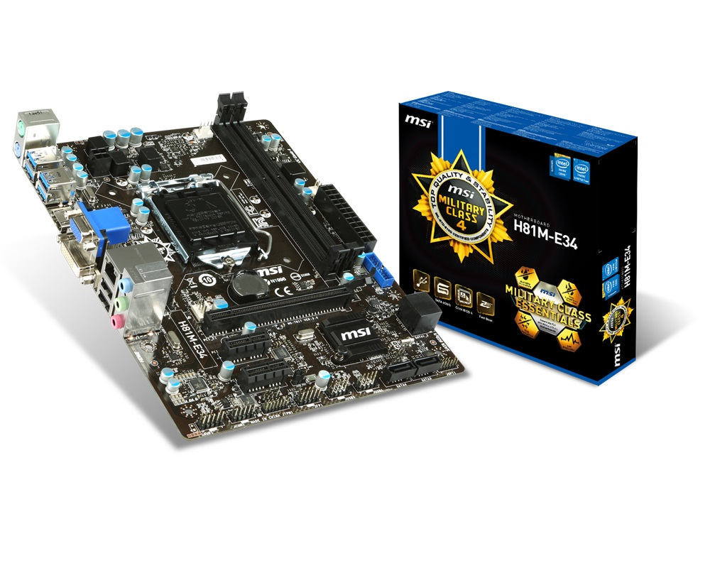 MSI H81M-E34, 1150, Intel H81, 2xDDR3, VGA+HDMI+DVI, 4x USB3.0, GbLAN, mATX