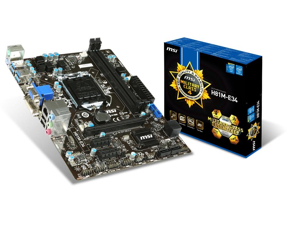 MSI MB Sc LGA1150, H81M-E34, Intel H81, 2xDDR3, VGA+HDMI+DVI, 4x USB3.0, GbLAN, mATX